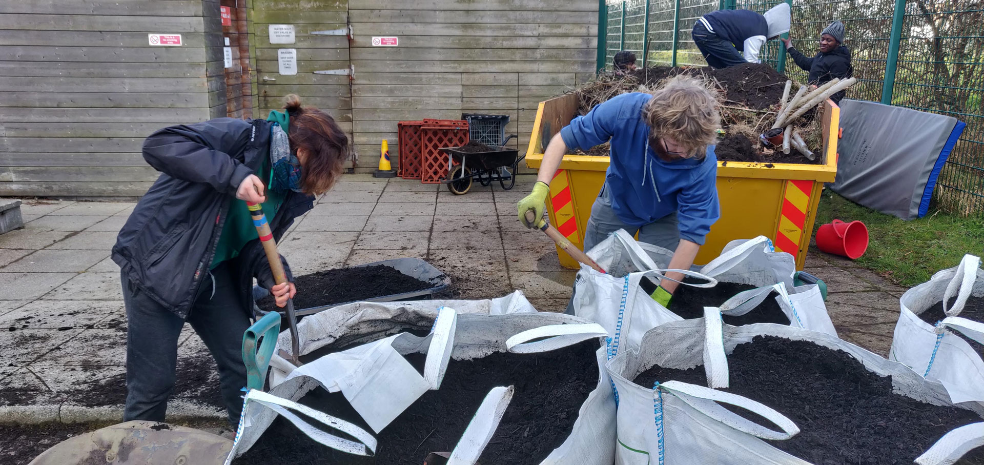 The Dirties Digging Soil at Marionville Care Home